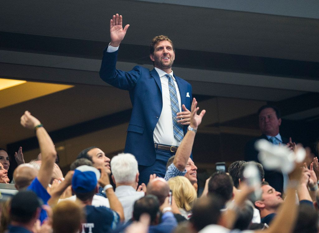 Former Dallas Mavericks player Dirk Nowitzki waves as he's introduced during the first quarter of an NFL game between the New York Giants and Dallas Cowboys on Sunday, September 8, 2019 at AT&T Stadium in Arlington. (Ashley Landis/The Dallas Morning News)
