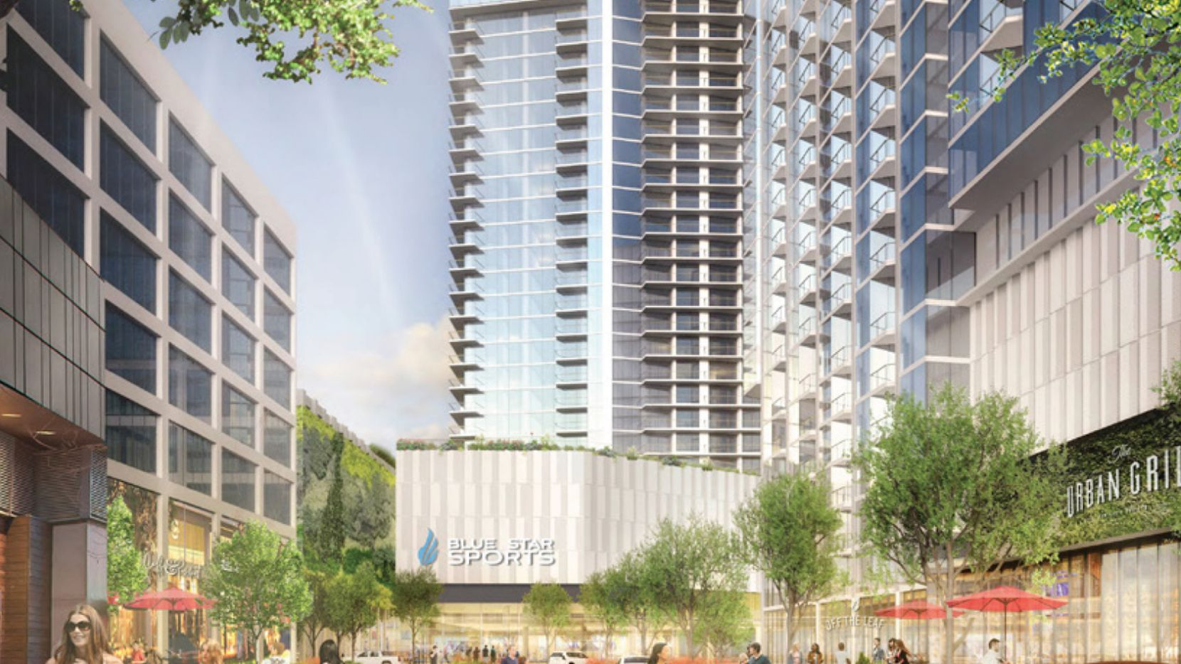 The first phase of The Crossing development near SMU includes a residential tower with more than 20 floors