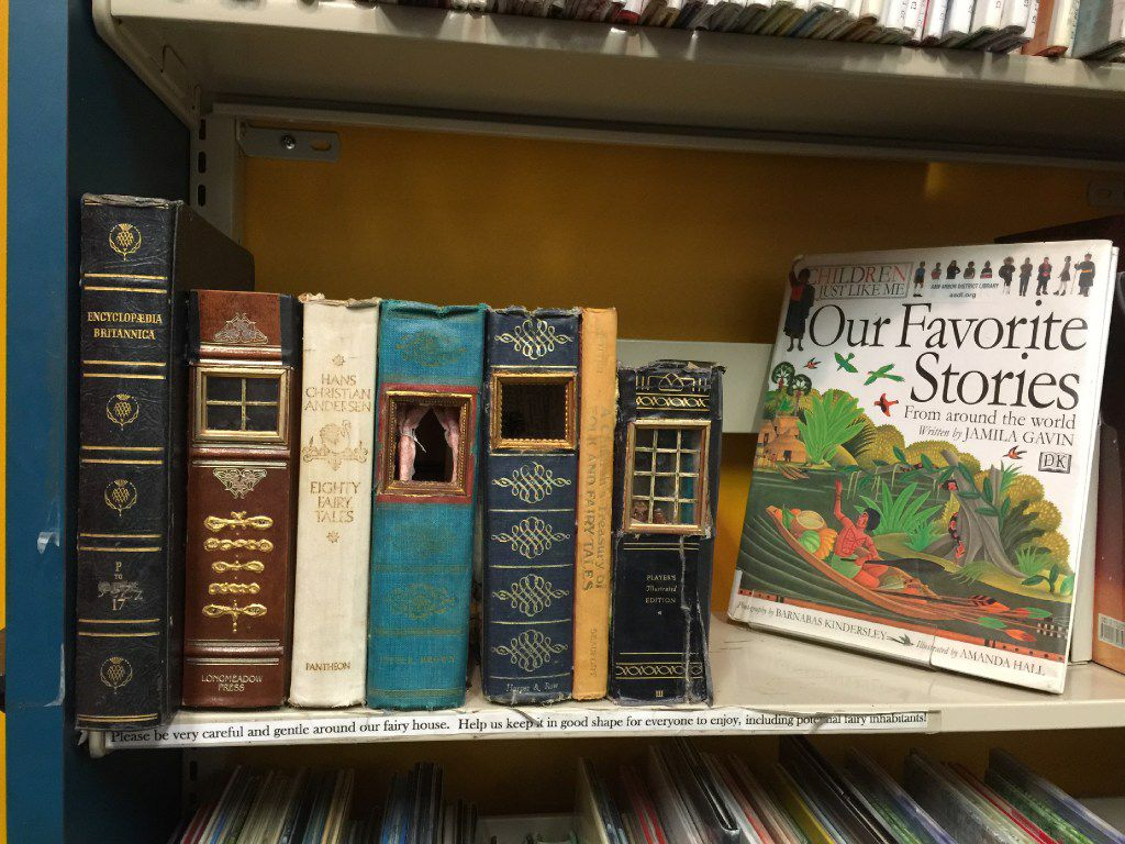 At the Ann Arbor District Library, the Fairytale and Folklore bookshelf