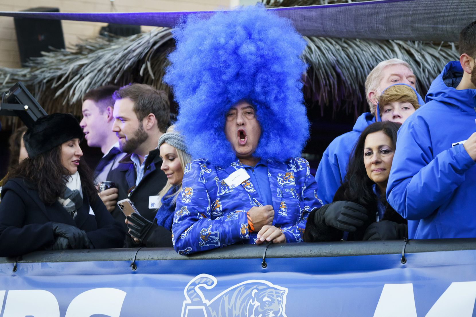 Fans yell along Beale Street during ESPN College GameDay before an NCAA football game between Memphis and SMU on Saturday, Nov. 2, 2019, in Memphis, Tenn.