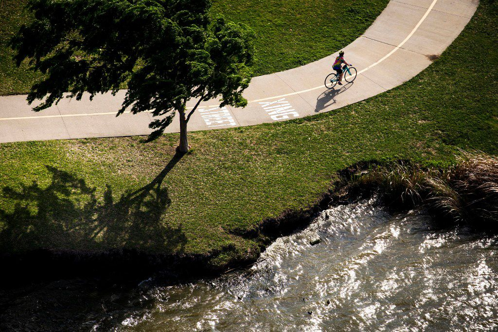 A cyclist rides the trail around White Rock Lake on Thursday, March 23, 2017, in Dallas, TX. (Smiley N. Pool/The Dallas Morning News)
