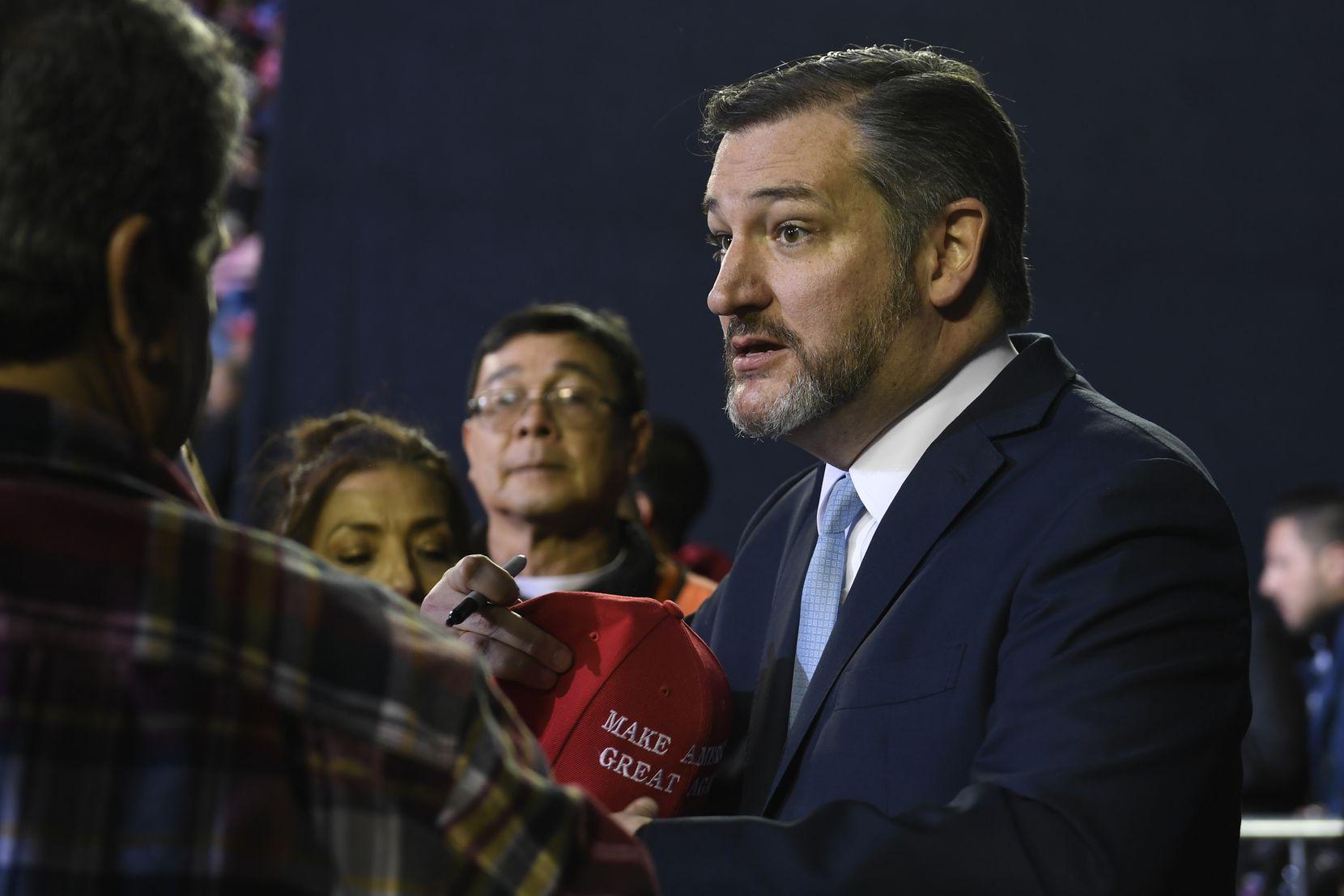 Sen. Ted Cruz, R-Texas, attends a rally with President Donald Trump in El Paso, Texas, Monday, Feb. 11, 2019. . (AP Photo/Susan Walsh)