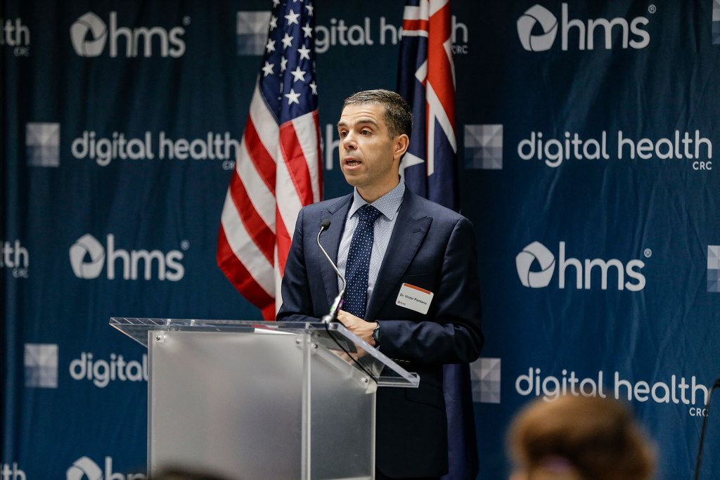 Dr. Victor Pantano, CEO of Digital Health CRC, speaks during a press conference announcing a partnership with researchers at Stanford, Southern Methodist University and HMS to fight opioid addiction, hospital re-admittance and other challenges that drive up health care costs at HMS Corporate Headquarters in Irving, Tuesday, May 14, 2019. The partnership is funded by a grant from the Australian government.