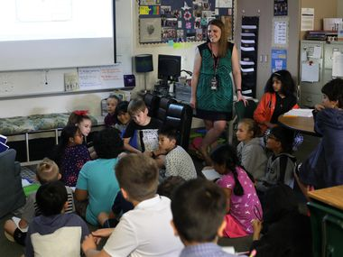 Kelsey Newman teaches a fourth-grade class at Isbell Elementary School in Frisco Friday.