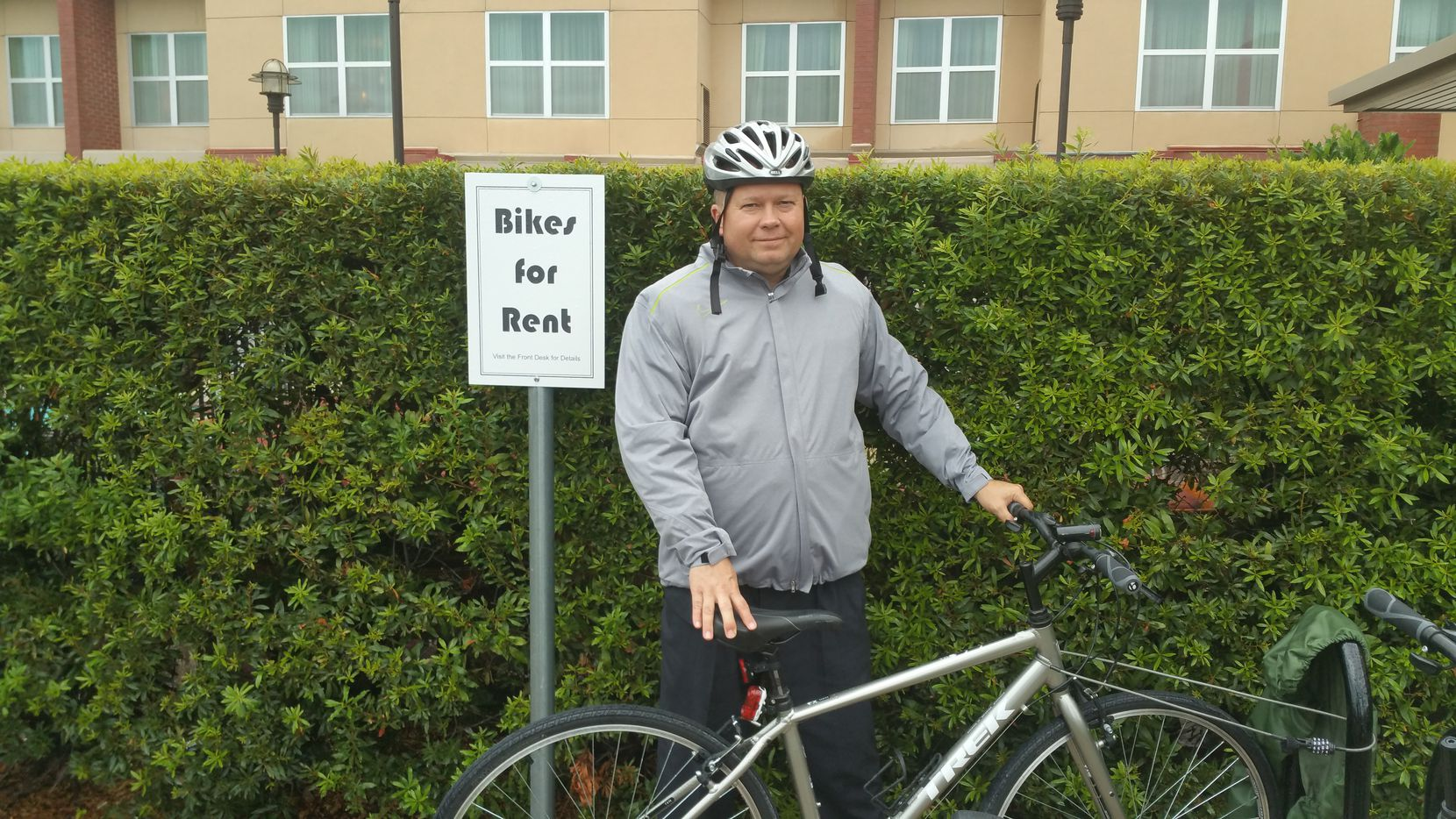 General Manager Mike Cicutto, who implemented the new bicycle rent program at the Marriott Hotels & Cascades Events Center, poses before a ride Friday, Oct. 30.