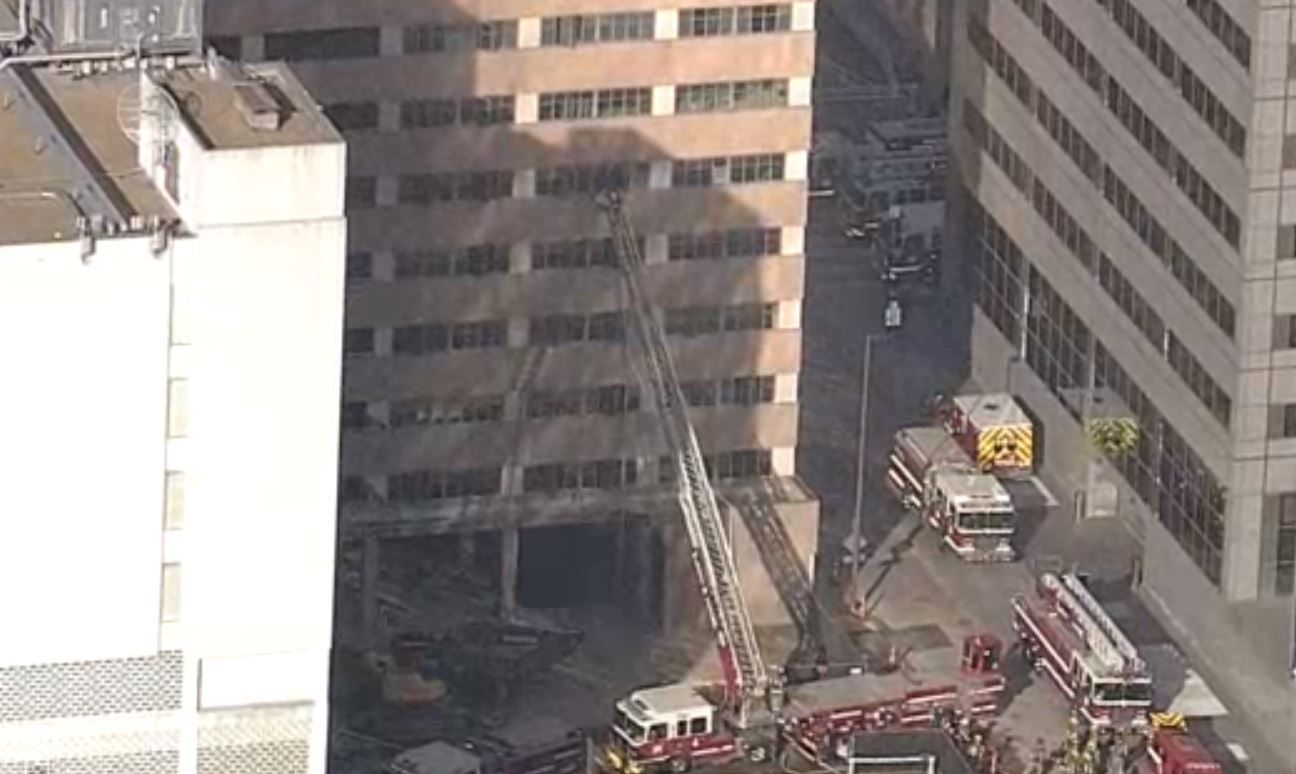 Dallas Fire-Rescue responded about 5 p.m. to a 911 call for a fire at the building in the 500 block of North Ervay Street, spokesman Jason Evans said.