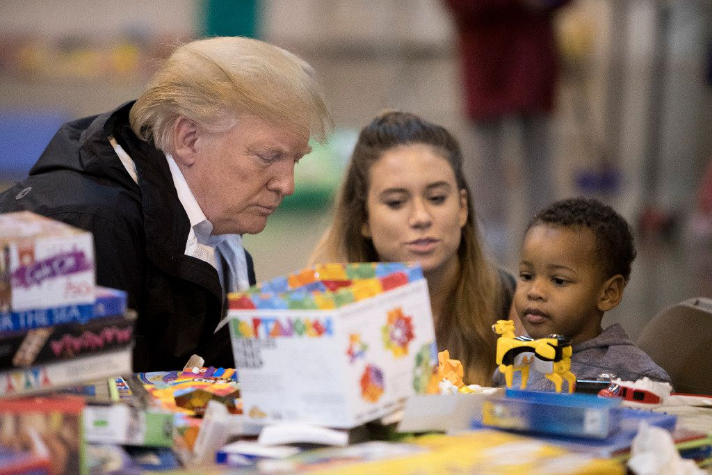 President Donald Trump met with people impacted by Hurricane Harvey at the NRG Center in Houston, Sept. 2, 2017.  (Tom Brenner/The New York Times)