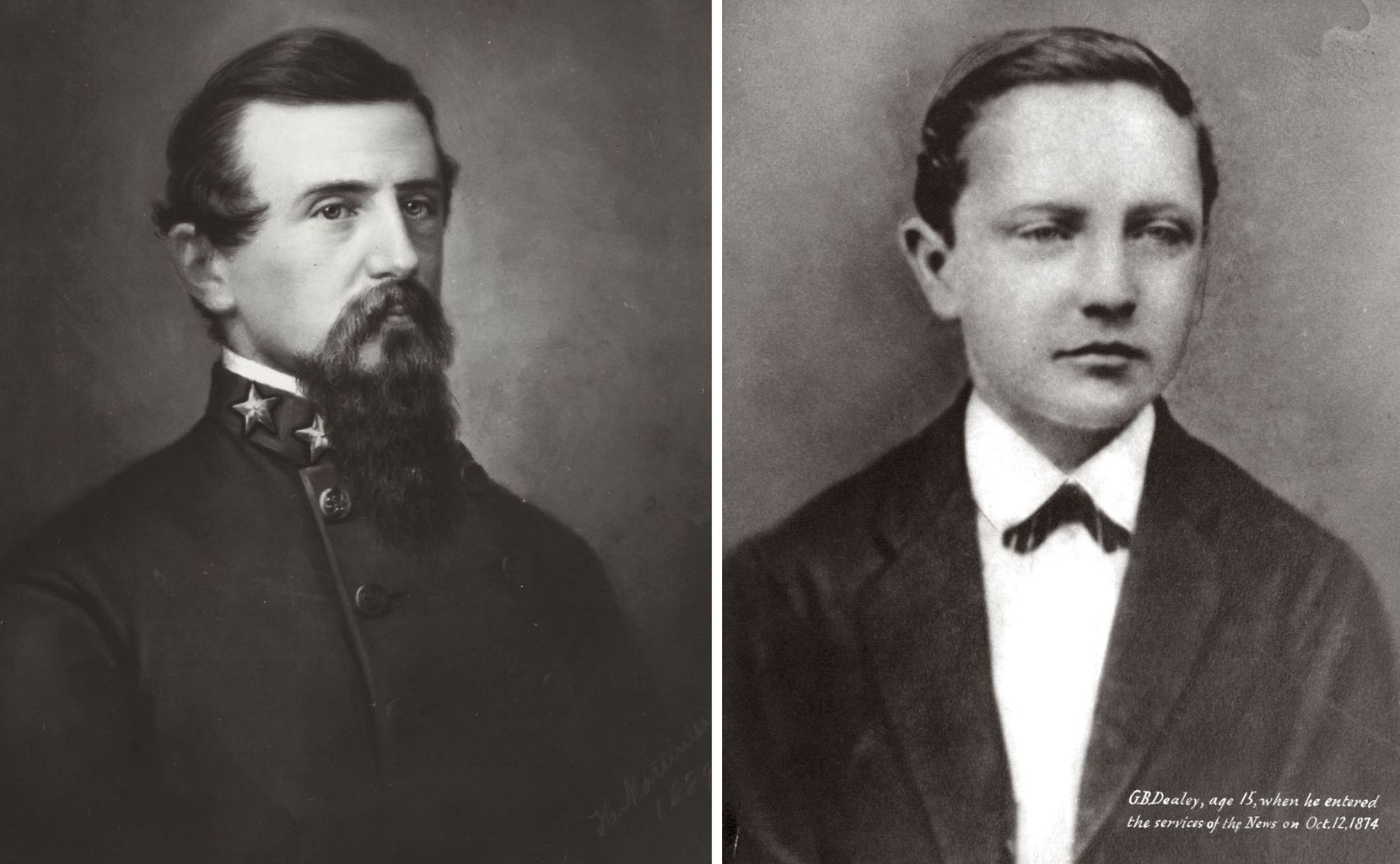 G.B. Dealey (right) was only 15 when Col. Alfred H. Belo (left) hired him at The News in Galveston.
