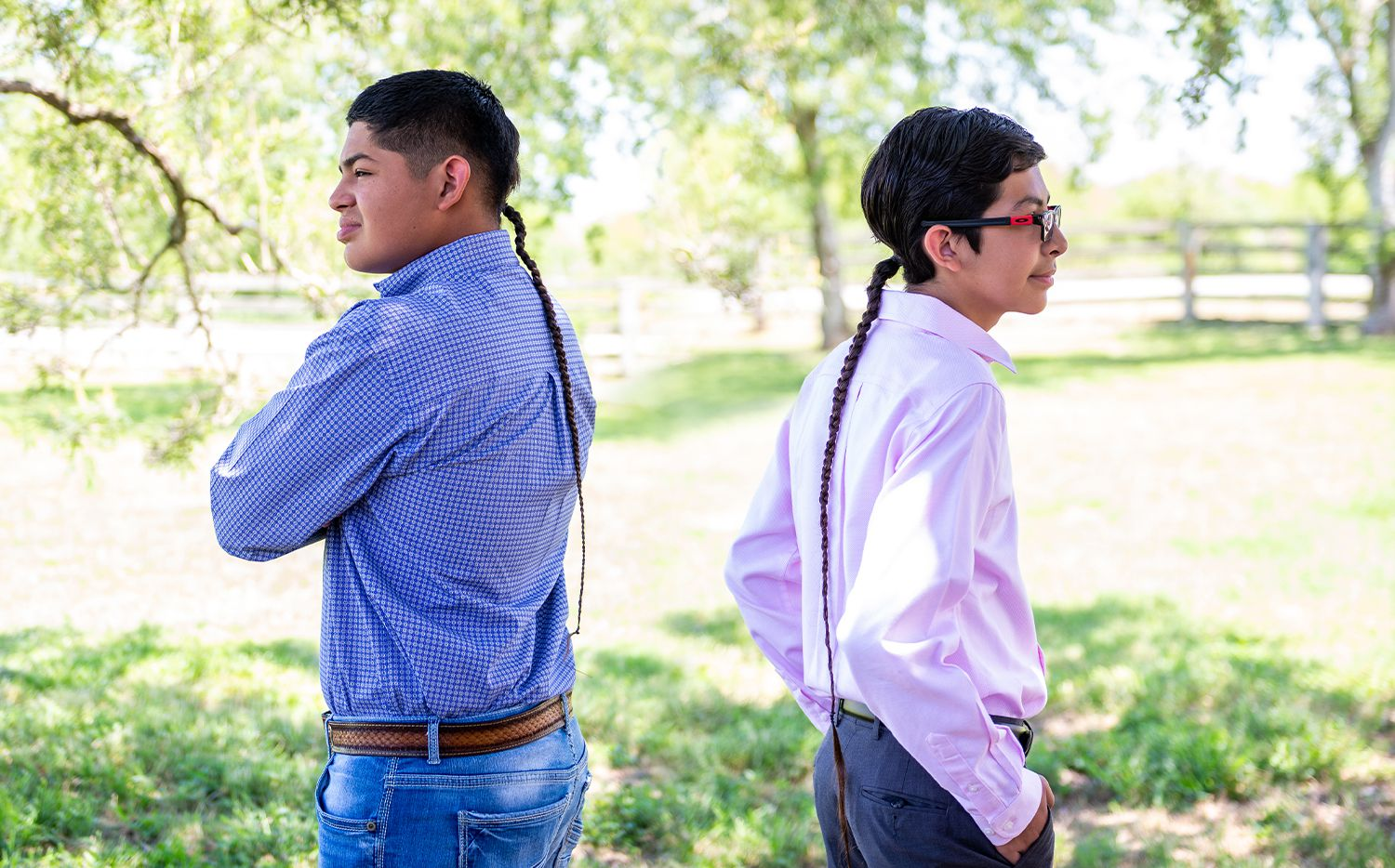 Cesar Gonzales (left) and brother Diego Gonzales were barred from extracurricular activities in the Mathis Independent School District because they would not cut their hair. The boys have been growing their braids since they were babies as a religious symbol.