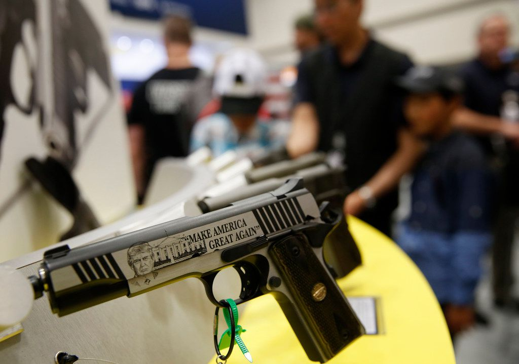 A Thompson Trump Custom 1911 on display at the NRA Annual Meeting & Exhibits at Kay Bailey Hutchison Convention Center in Dallas on Friday.