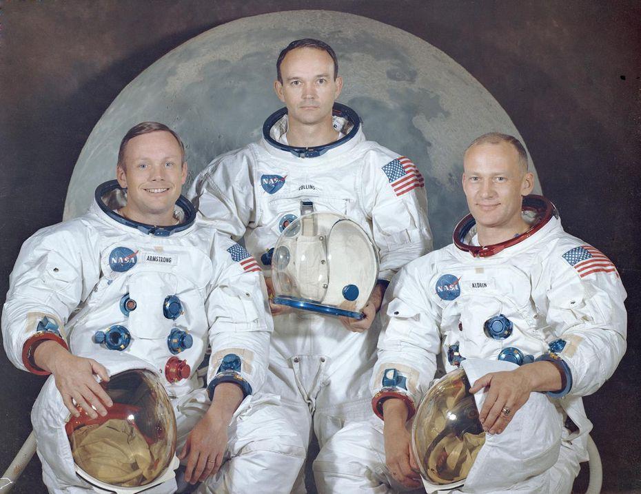 Neil Armstrong, Michael Collins y Buzz Aldrin, los tres astronautas de la misión Apollo 11.