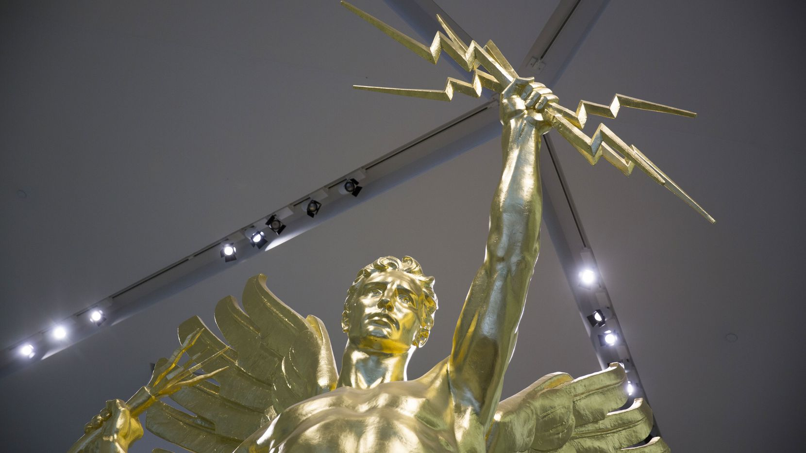 The Spirit of Communications statue was previously in the lobby of AT&T's headquarters and will reappear after the downtown campus redo is done.
