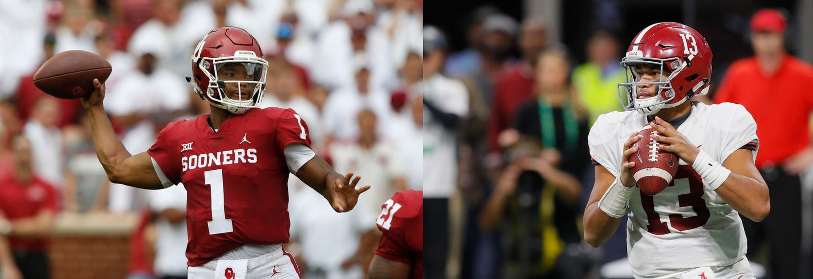 Left: In this Sept. 8, 2018 file photo, Oklahoma quarterback Kyler Murray (1) attempts a pass during a game against UCLA in Norman, Okla. (AP Photo/Sue Ogrocki, File) Right: Alabama's Tua Tagovailoa (13) looks to pass the ball against Georgia during the SEC Championship Game at Mercedes-Benz Stadium on Dec. 1, 2018, in Atlanta. (Photo by Kevin C. Cox/Getty Images)