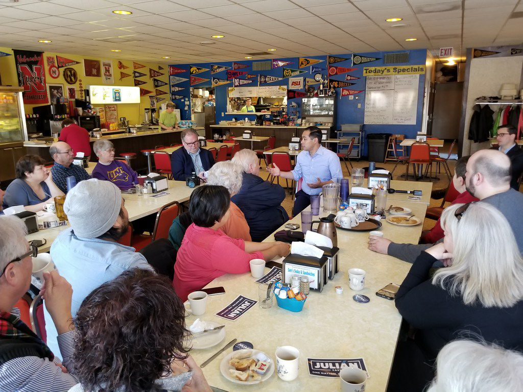 Julian Castro speaks with Democratic voters while stumping for president in Carroll, Iowa, at Sam's Sodas and Sandwiches, on Feb. 22, 2019.