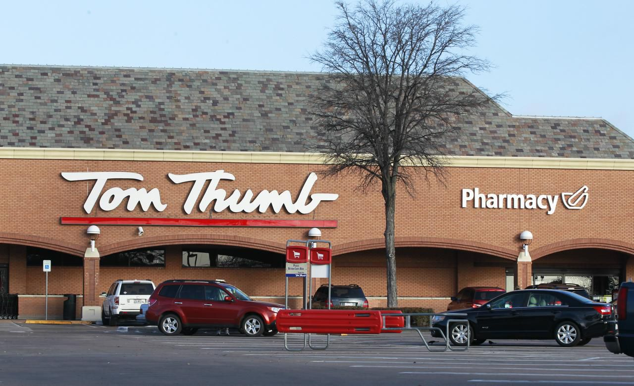 The Tom Thumb store at Mockingbird Lane and Abrams Road in Dallas sits across the street from an Albertsons. The chains are now one with their newly completed merger.