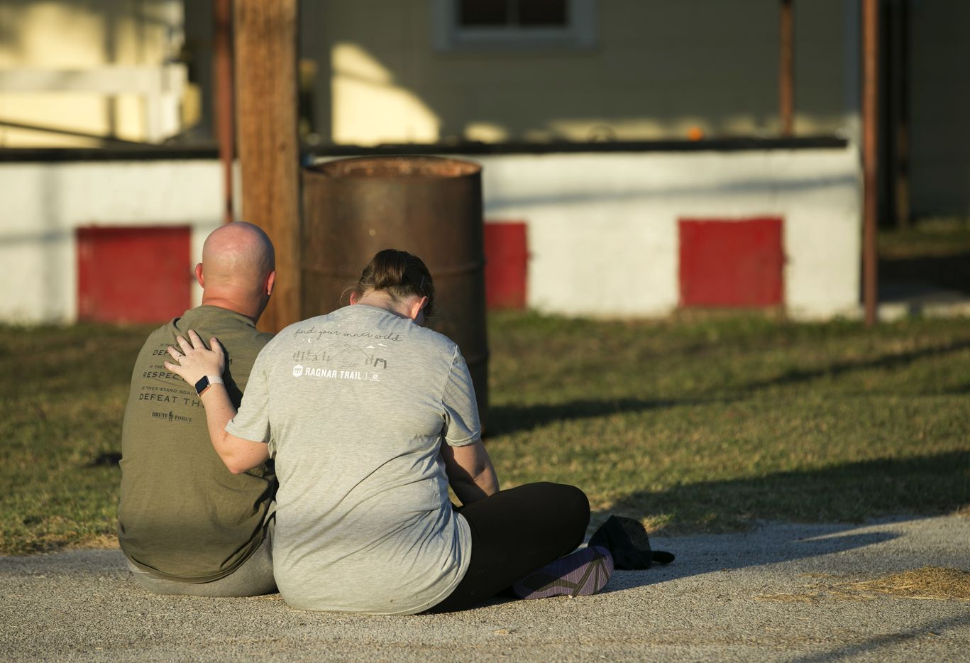 A couple comfort each other at a community center in Sutherland Springs, Texas, near the scene of a mass shooting at the First Baptist Church on Sunday, Nov. 5, 2017.