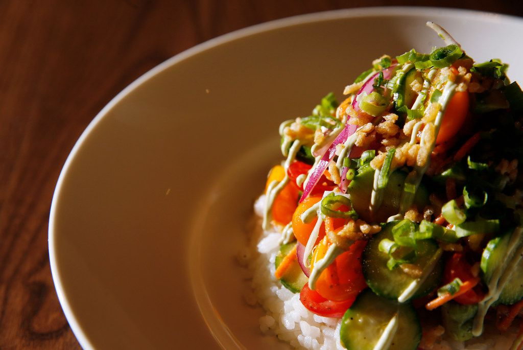 Salmon poke at HG Sply Co. in Trophy Club, Texas on Thursday, August 15, 2019. (Vernon Bryant/The Dallas Morning News)