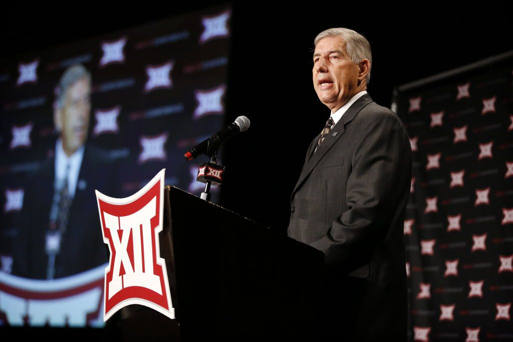 Big XII Commissioner Bob Bowlsby address the media assembled for the Big 12 Conference Football Media Days at the Omni Dallas, July 16, 2016. (Tom Fox/The Dallas Morning News)