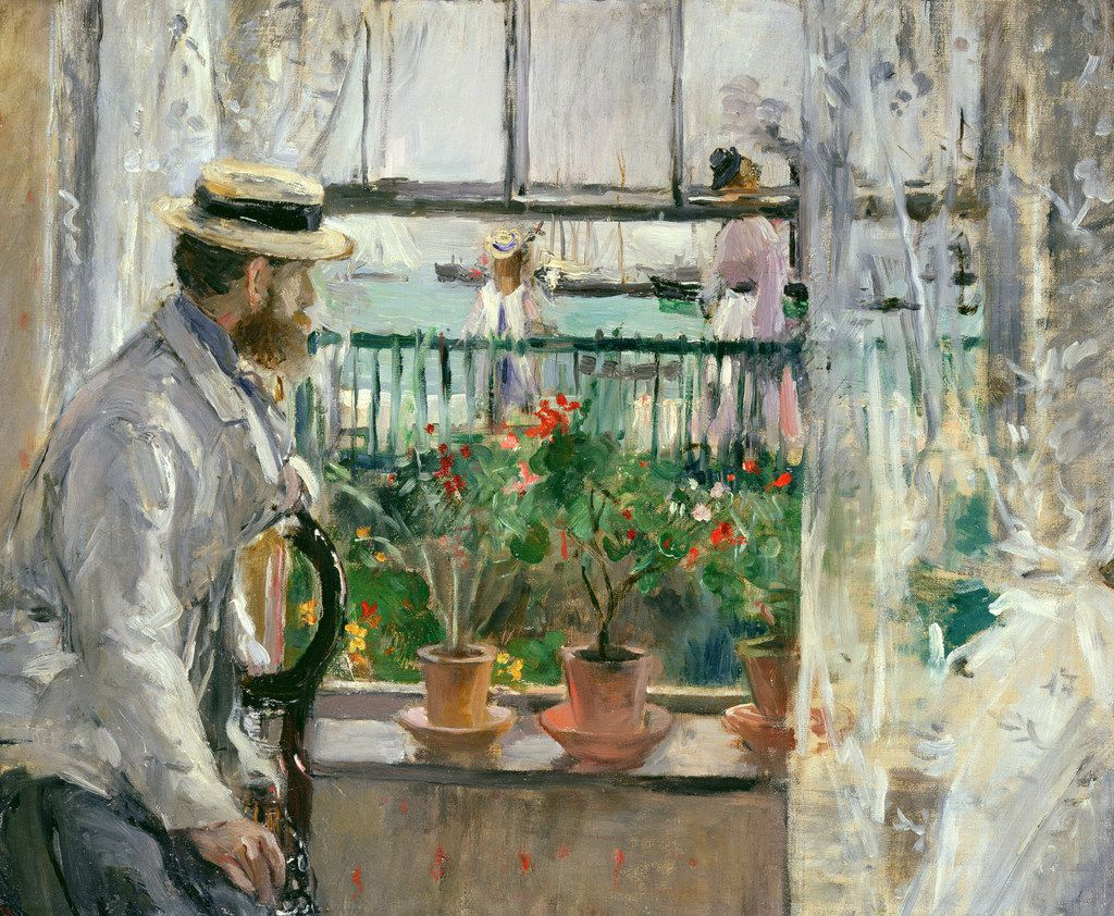 The only prominent male figure in the exhibition of Berthe Morisot's work is her husband, Eugène Manet, who is rarely shown alone, but usually with their only child and daughter, Julie.