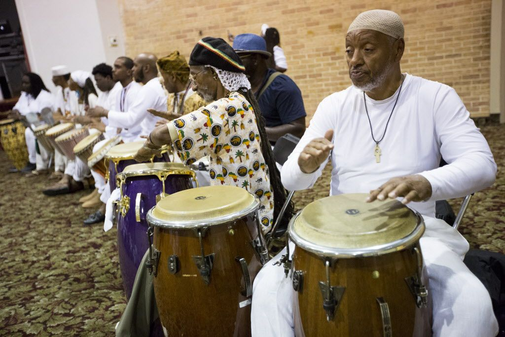 Drummers perform during a memorial service for Arthur Riggins, also affectionately known as Baba and Chief Ifayomi by the community, on May 19, 2017, at the Frederick Douglass Community Center in Dallas, Texas. Riggins was a community leader that was killed by his godson in an incident that also injured a neighbor and a Dallas firefighter-paramedic in May. (Andrew Buckley/Special Contributor)