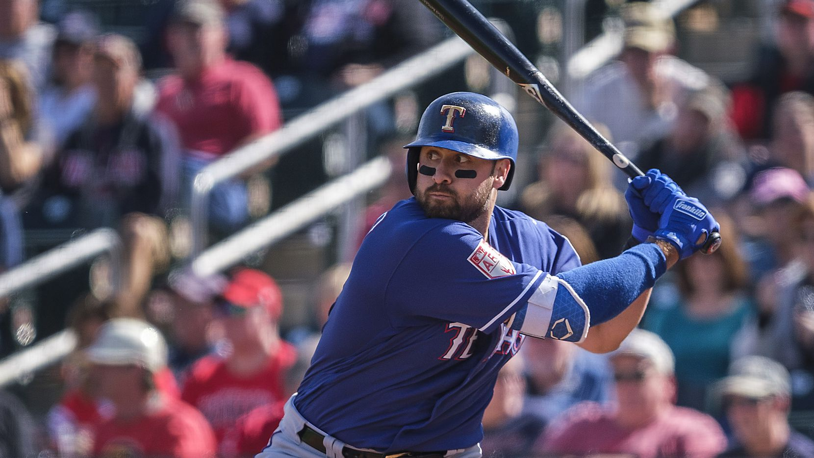 Texas Rangers outfielder Joey Gallo bats during a spring training baseball game against the Cleveland Indians on Monday, Feb. 25, 2019, in Goodyear, Ariz.. (Smiley N. Pool/The Dallas Morning News)