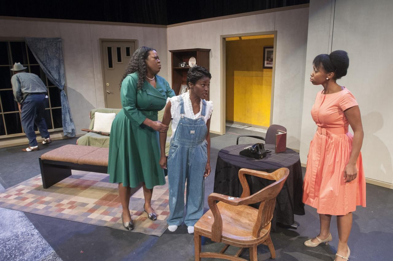 From left: Tyrees Allen (Mr. Chuck), Stormi Emerson (Gertie), Ashley Wilkerson (Robbie) and Whitney Coulter (Claudette) perform a scene from 'Mississippi Goddamn' during rehearsal at the South Dallas Cultural Center. Photographed on Tuesday, Feb. 3, 2015.