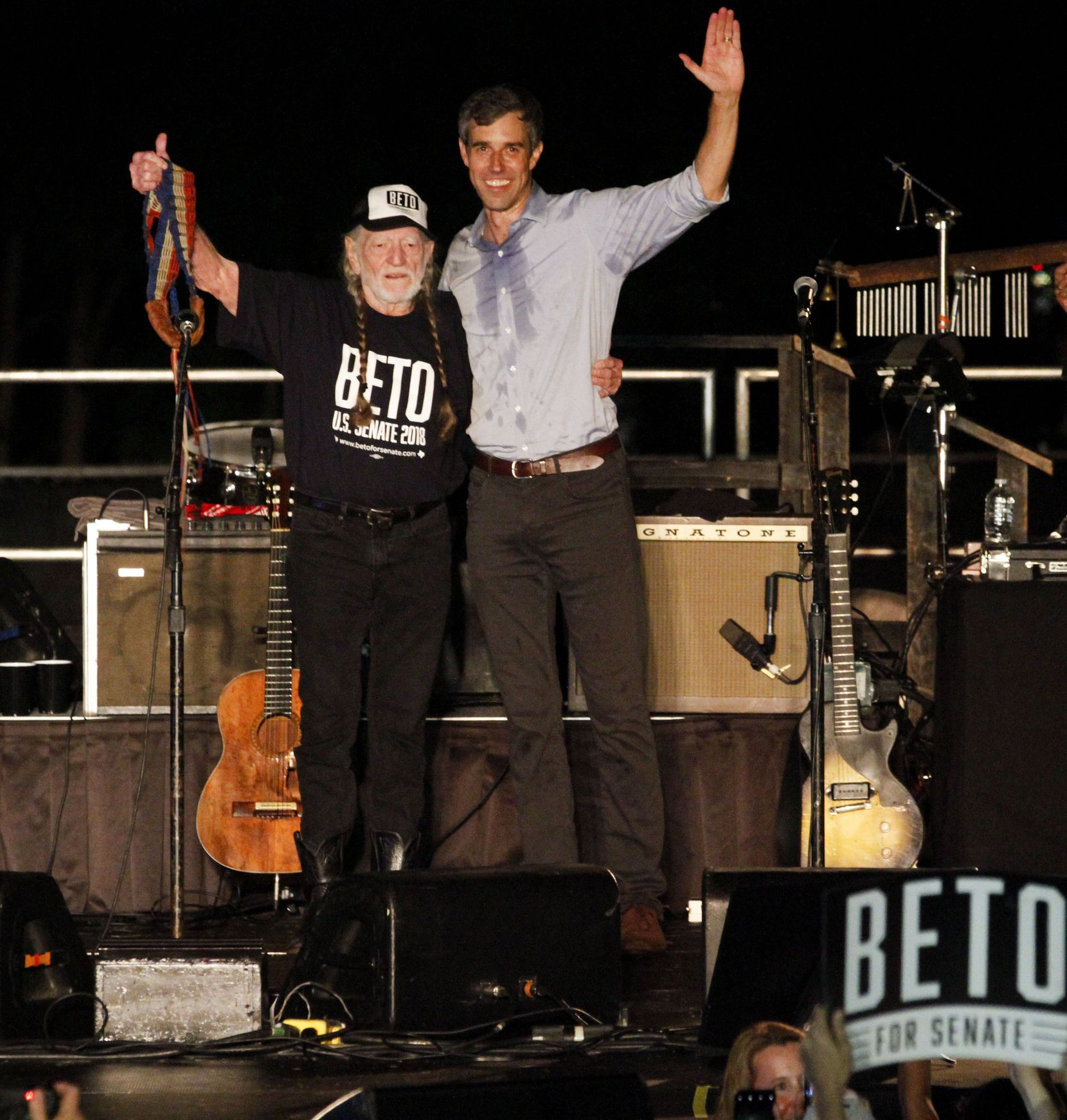 Campaigning for Senate against incumbent Ted Cruz in 2018,  Beto O'Rourke shared a stage with Willie Nelson.