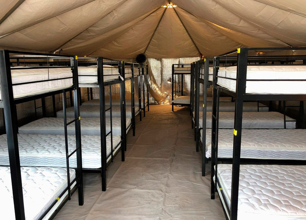 This undated photo provided by the U.S. Department of Health and Human Services Administration for Children and Families shows beds at the shelter used to house unaccompanied foreign children in Tornillo, Texas.