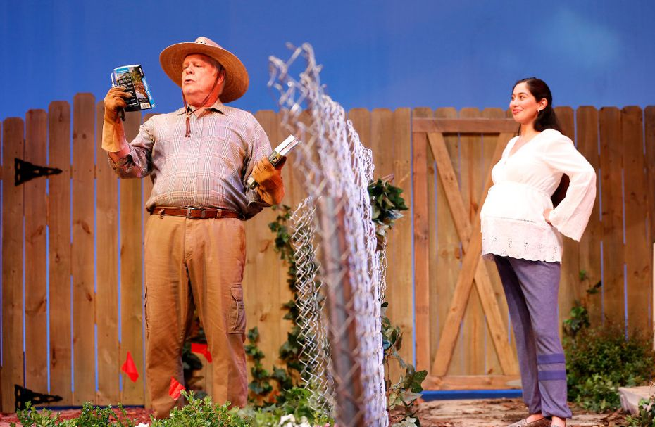 "John S. Davies (as Frank Butley) and Stephanie Cleghorn Jasso (as Tania Del Valle) argue about what to grow in their backyards in ""Native Gardens"" at WaterTower Theatre at Addison Theatre Centre in Addison."