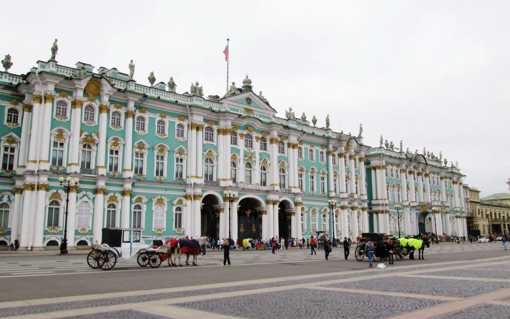 The tsars' Winter Palace is now the Hermitage Museum in St. Petersburg.