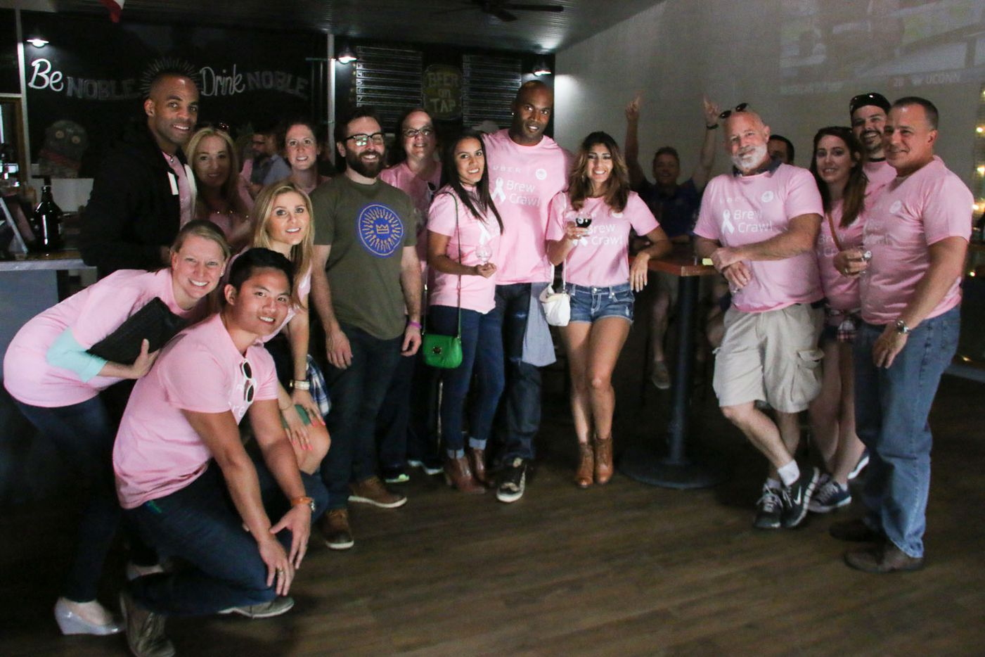 Bradie James (center) posed with Brew Crawl participants during the inaugural Brew Crawl for Breast Cancer on Saturday in Dallas. The event was put on by Dallas Brew Scene, with all proceeds benefiting James' Foundation 56 breast cancer nonprofit.
