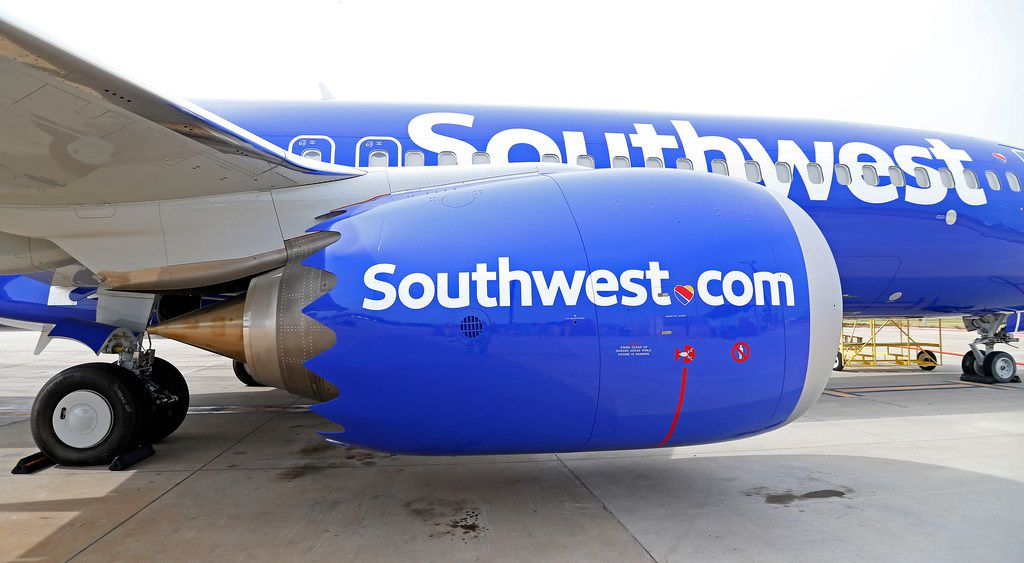 An engine of a Southwest Airlines' new plane, the 737 Max, at headquarters in Dallas.