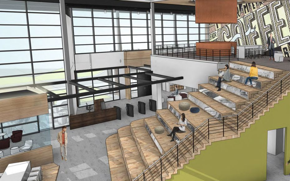 A rendering of the mezzanine area near the entrance of the new Farmer Bros. facility in Northlake, just north of Fort Worth.