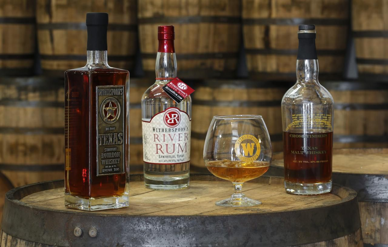 Witherspoon's Bourbon whiskey, River Rum and malt whiskey  at the Witherspoon Distillery in Lewisville in 2013.