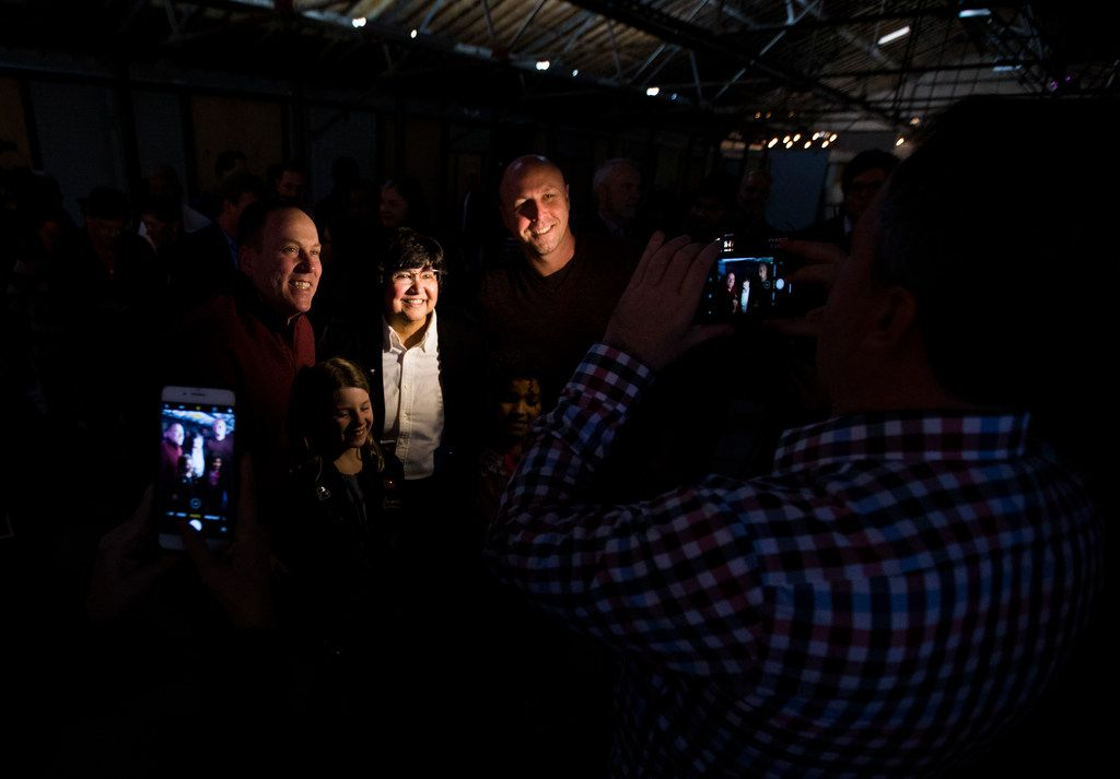 Democratic candidate and former Dallas County Sheriff Lupe Valdez takes photos with supporters at a campaign kickoff event on Sunday, January 7, 2018 at Tyler Station in Dallas. Valdez is running for governor of Texas. (Ashley Landis/The Dallas Morning News)
