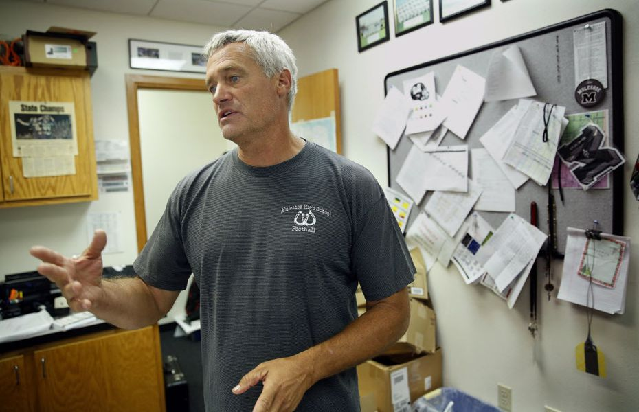 Muleshoe head football coach David Wood speaks about former quarterback Lincoln Riley from his office in Muleshoe, Texas, Tuesday, August 1, 2017. Riley is now the new Oklahoma Sooners head football coach. (Tom Fox/The Dallas Morning News)