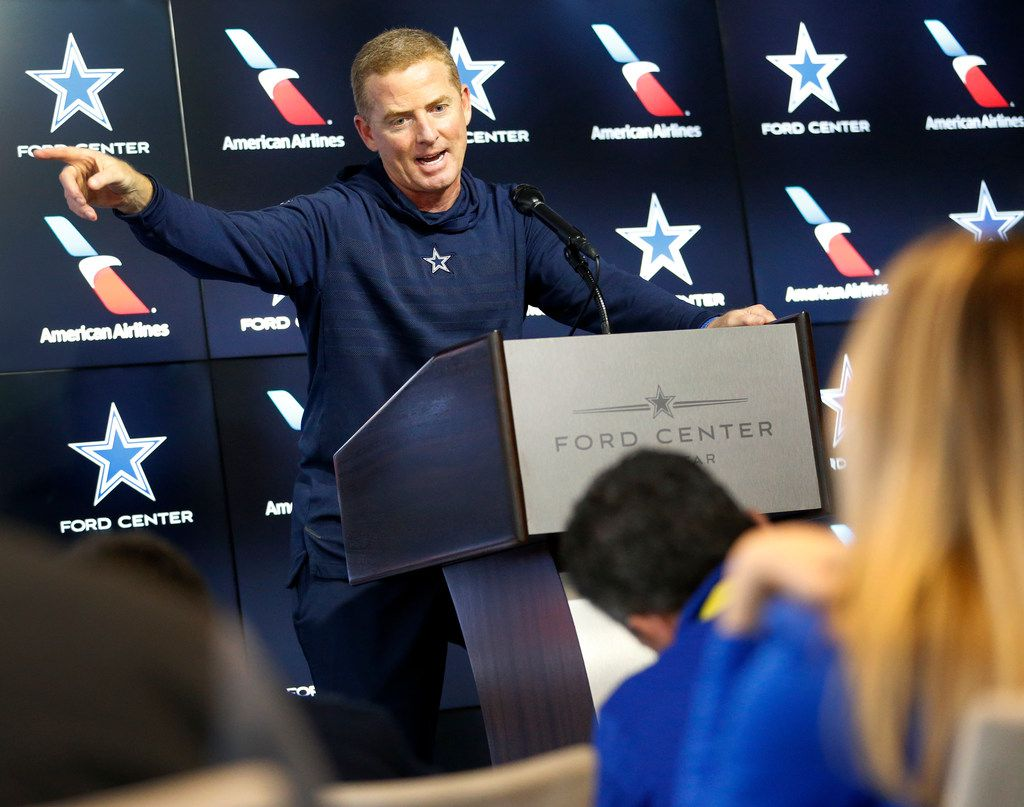 Dallas Cowboys head coach Jason Garrett responds to a question during a press conference at The Star in Frisco, Tuesday, October 29, 2019. The Cowboys are getting ready to face the New York Giants.