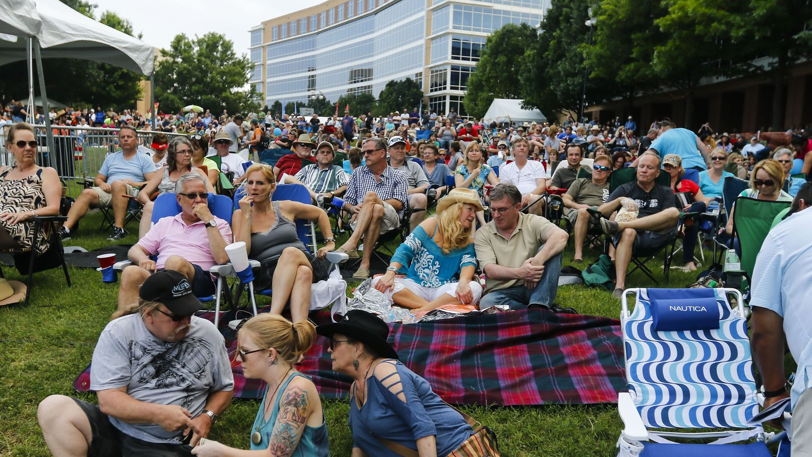 The crowd gathers for singer Leon Russell's performance on the Amphitheater Stage at the 2015 Wildflower Arts & Music Festival in Richardson.