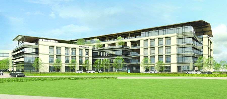 Charles Schwab: Westlake campus, a 500,000-square- foot office campus in the Circle T Ranch development on State Highway 114. The $100 million regional office center will house 2,600 workers when it opens in 2019.