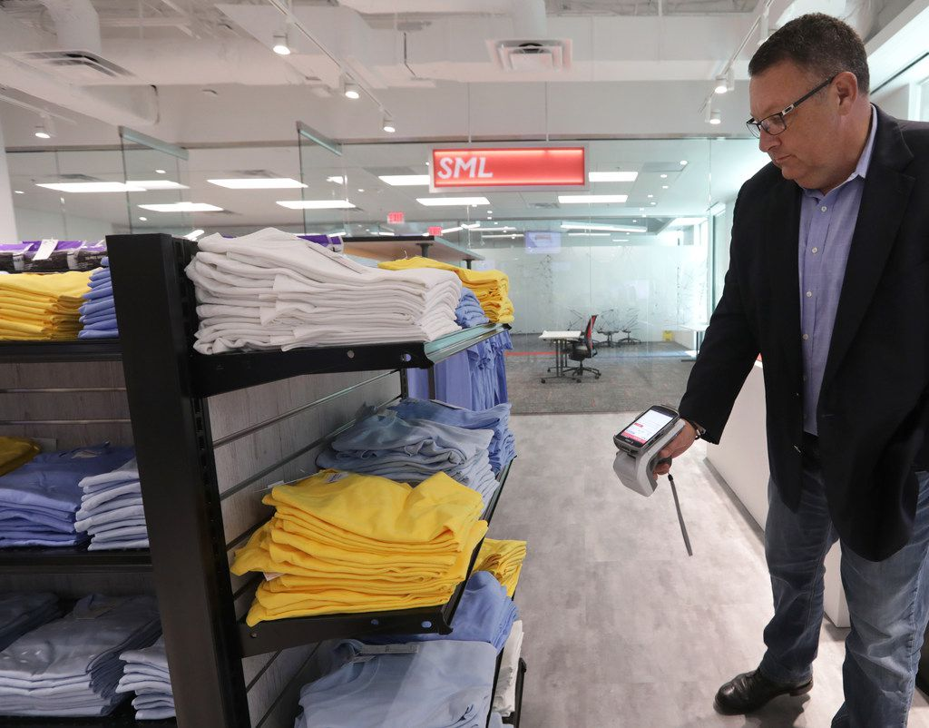 Chief technology officer Dean Frew tests the company's newest RFID technology at SML Group in Plano.