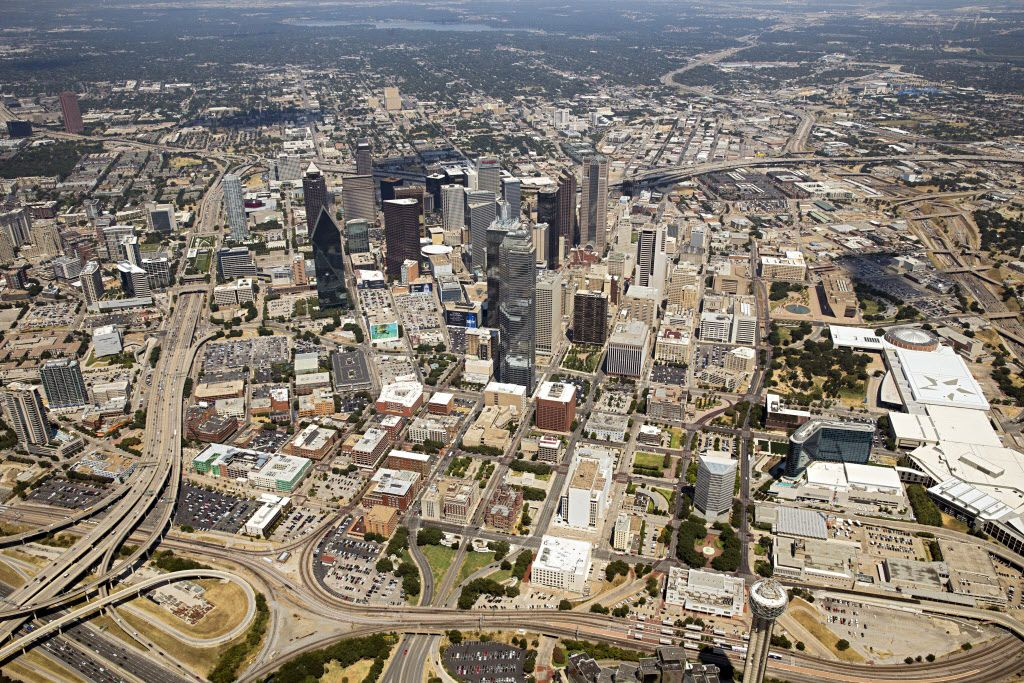 A 2015 aerial photo shows the ring of highways that circle around downtown Dallas. A new report offers several options for updating the aging freeways -- including one plan that could see Interstate 345 (in the background) removed altogether.