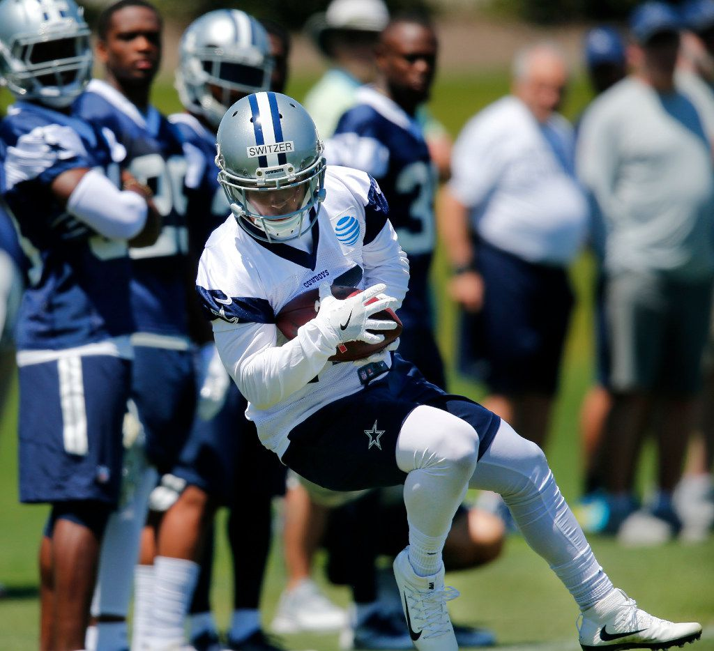 Dallas Cowboys rookie receiver Ryan Switzer (10) of North Carolina catches a pass along the sidelines during organized team activities at The Star in Frisco, Texas, Wednesday, May 24, 2017. (Tom Fox/The Dallas Morning News)