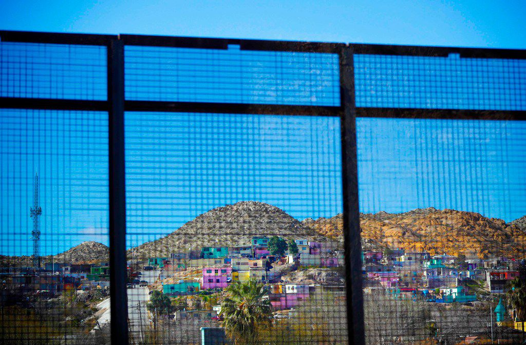Residential homes in the Mexican city of Ciudad Juarez seen through border fencing during Acting Secretary of Defense Patrick Shanahan's tour of the US-Mexico border in El Paso on Feb. 23.