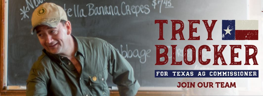 Trey Blocker stands in front of a menu for Nutella banana crepes in an image on his campaign website.