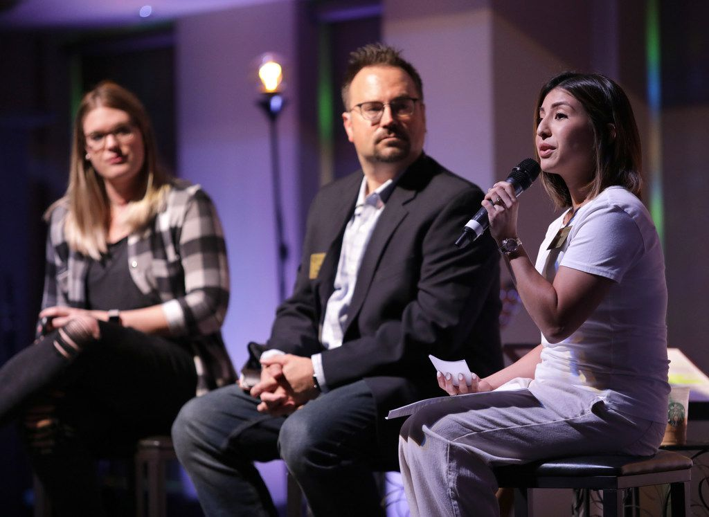 From left, Wendy Child,  modern worship director, Joe Stobaugh, modern worship pastor, and Jesseca Aziz, minister of outreach, answer questions from congregants at Grace Avenue United Methodist Church in Frisco Sunday.