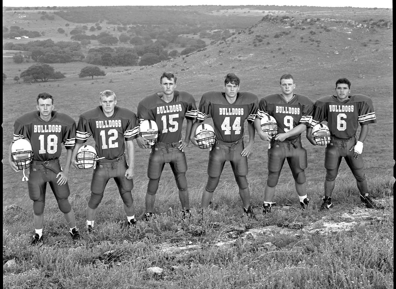 Wilson's   Mullin Bulldogs Starting Six, Democrat, Texas  is a study of small-town athletes set against a rugged terrain.
