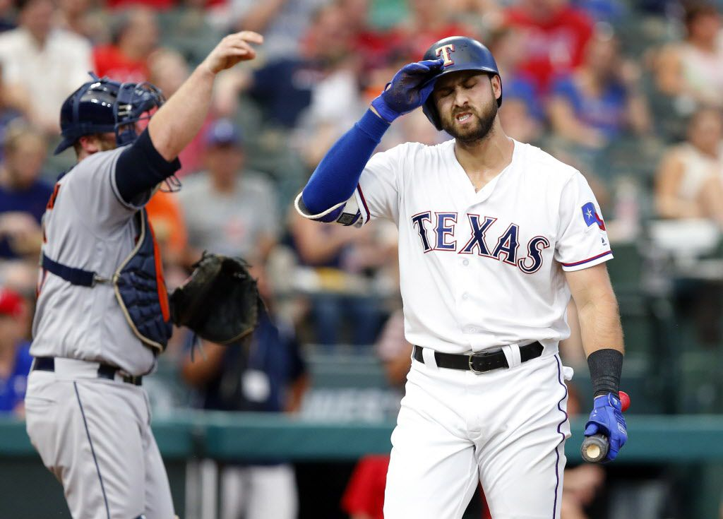 With bases loaded, Texas Rangers batter Joey Gallo strikes out in the third inning against the Houston Astros at Globe Life Park in Arlington, Friday, August 11, 2017. (Tom Fox/The Dallas Morning News)