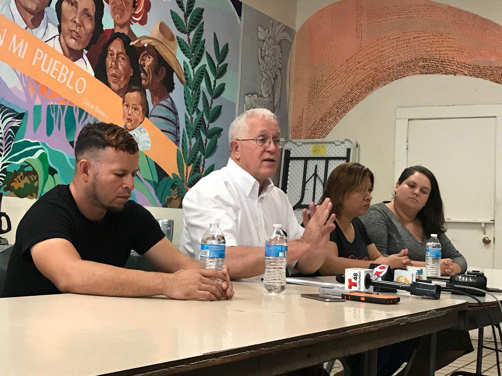 From left to right, Mario, a father from Honduras, sits next to Ruben Garcia, director of Annunciation House and Digna Perez, a mother from El Salvador, along with legal coordinator Taylor Levy. The parents and immigrant advocates called on the U.S. government to reunite them with their children.