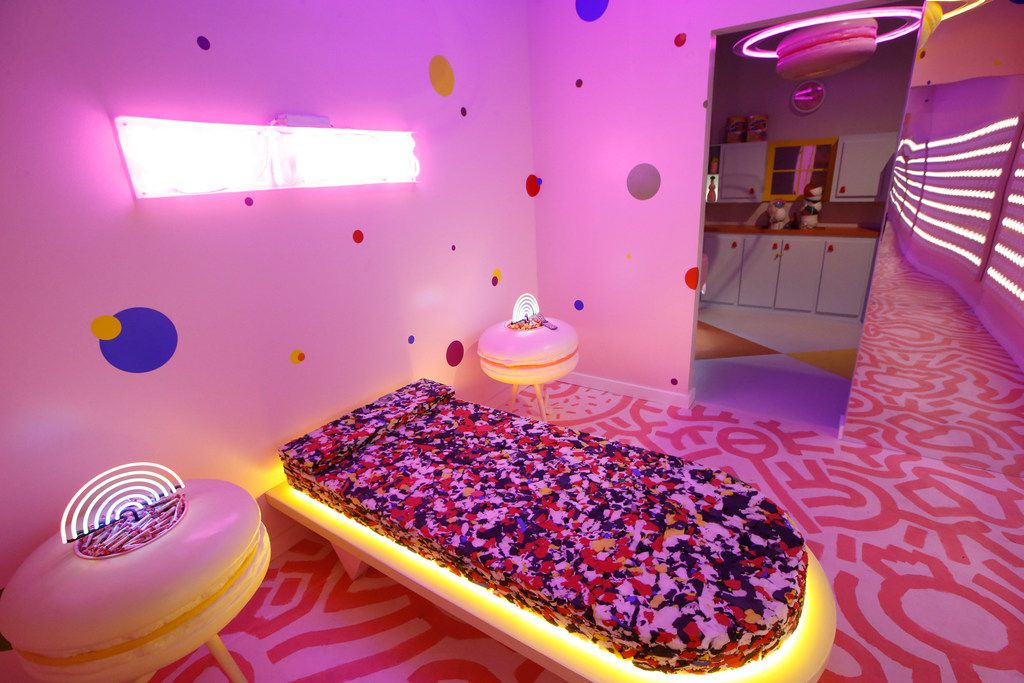Here's the Dream Suite, designed by Bender and Jeremy Biggers at Sweet Tooth Hotel. The nightstands are giant (and inedible) macarons.