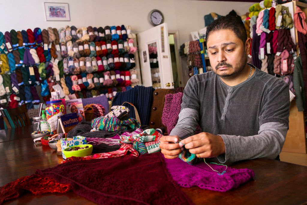 Pedro Gonzalez of Dallas says knitting calms him after a rough day at work.